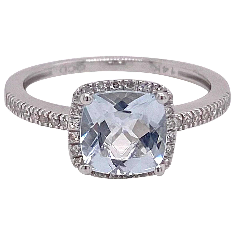 Aquamarine Diamond Halo Ring, 14 Karat White Gold, 1.29 Carat Aqua .12 Diamond