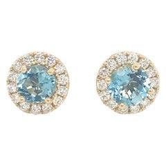 Aquamarine Diamond Halo Stud Earrings 1.73 Carat 14 Karat Yellow Gold