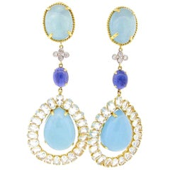 Aquamarine Diamond and Ioliate Gold Dangle Earrings
