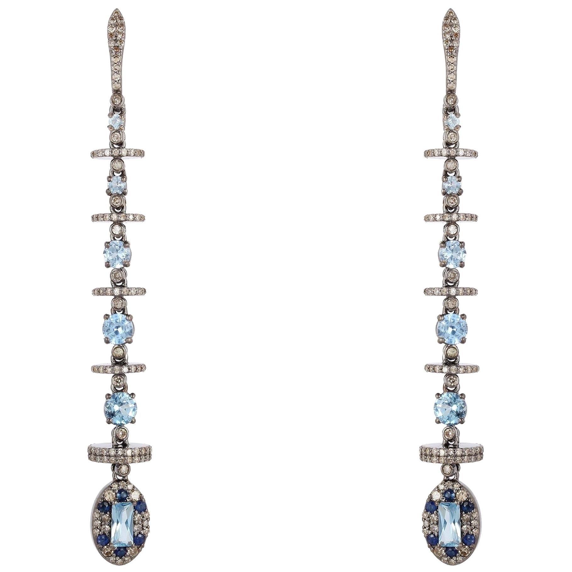 Aquamarine Diamond Linear Drop Earrings