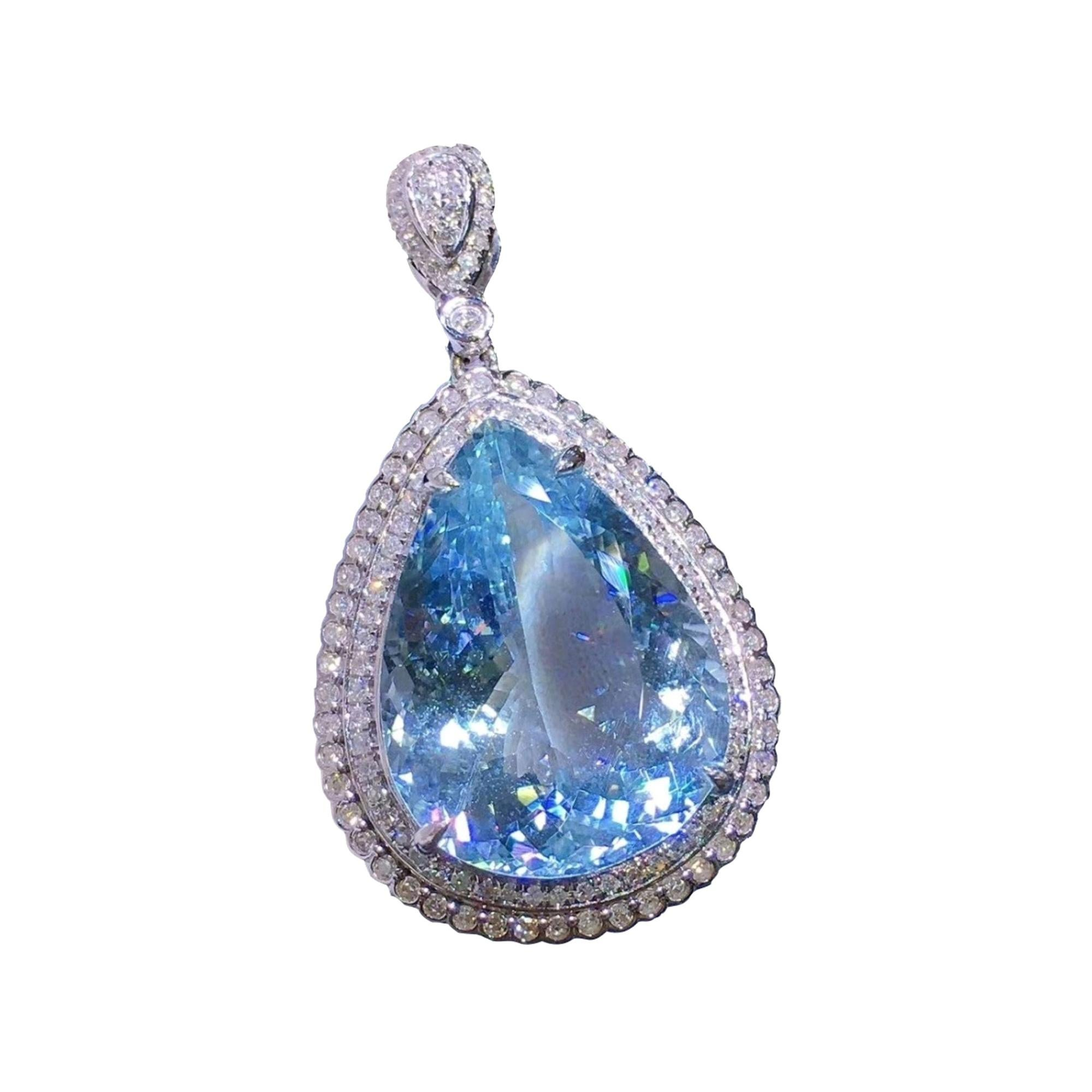 Aquamarine Diamond Pendant and Chain 18K White Gold