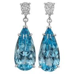 Aquamarine and Diamond Pendant Earrings