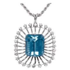 Aquamarine Diamond Pendant Necklace