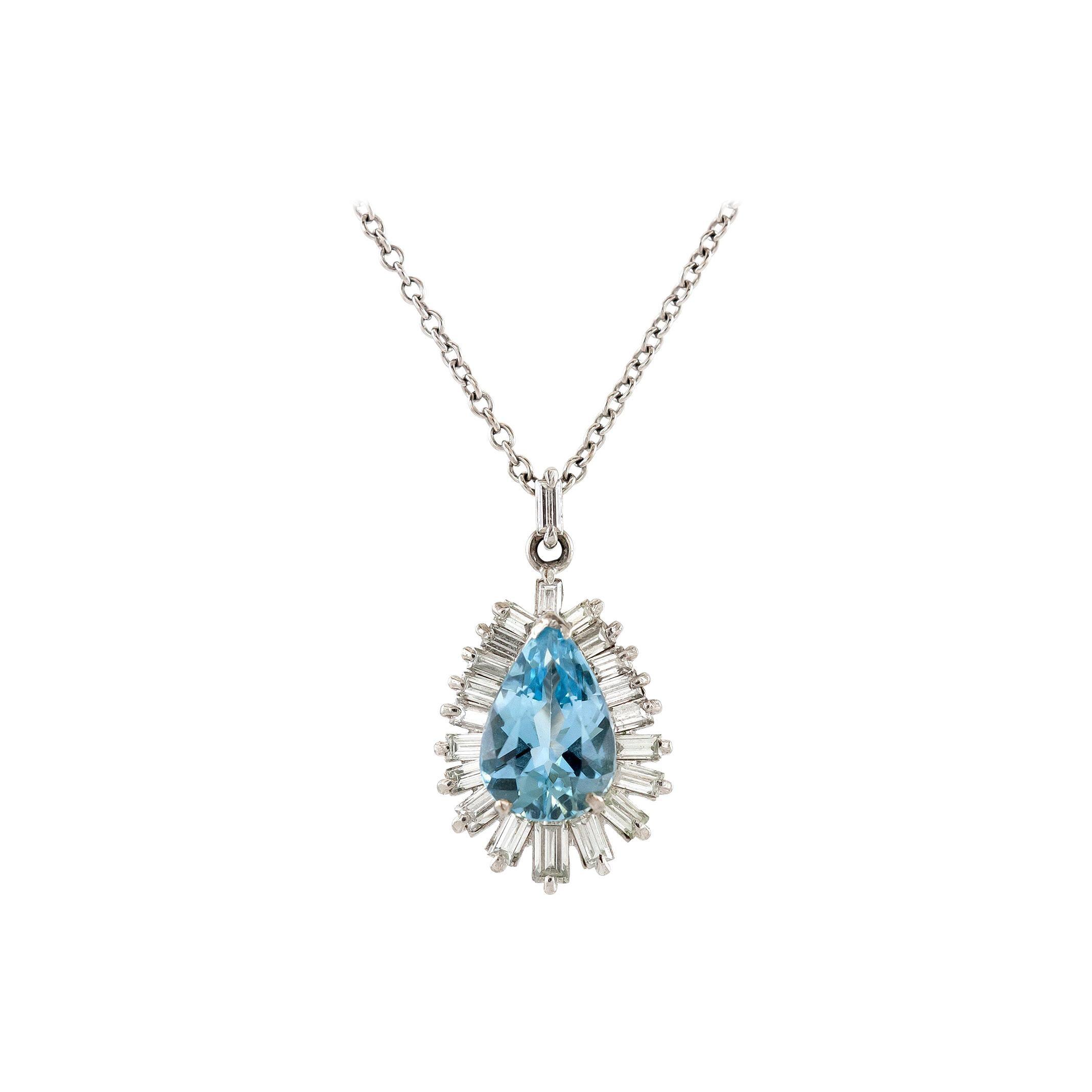 Aquamarine Diamond Pendant-Necklace