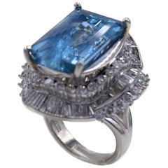 Aquamarine Diamond Platinum 1970s Cocktail Ring