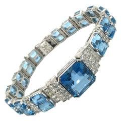 Aquamarine Diamond Platinum Art Deco Bracelet, 1920s
