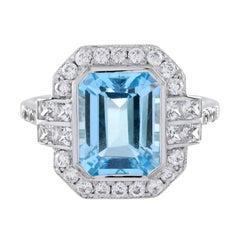 The One Emerald Aquamarine with Diamond Engagement Ring in Platinum