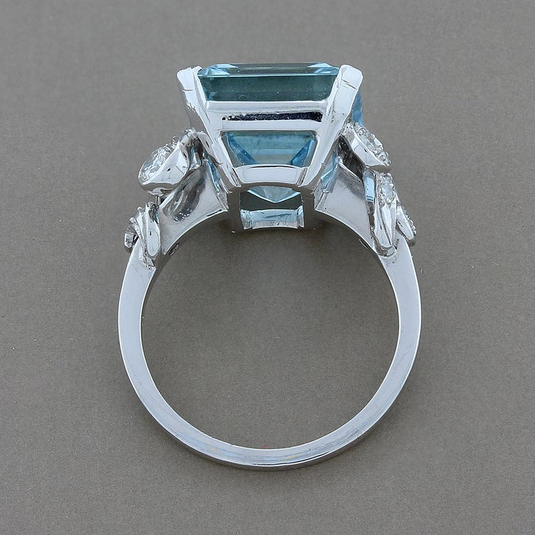 Aquamarine Diamond Platinum Cocktail Ring In New Condition For Sale In Beverly Hills, CA