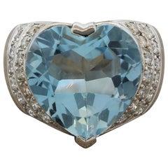 Blue Topaz Diamond Platinum Cocktail Ring