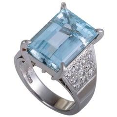 Aquamarine Diamond Platinum Cocktail Ring