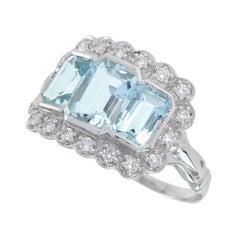 Trinity Emerald Cut Aquamarine Cocktail Ring in Platinum