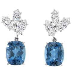 Aquamarine Diamond Platinum Drop Earrings