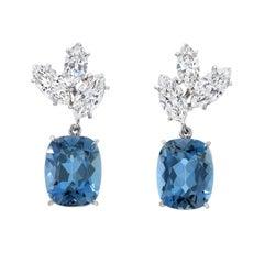 Aquamarine Diamond Platinum Drop Earrings