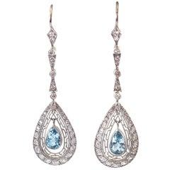 Aquamarine Diamond Platinum Earrings