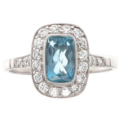 Aquamarine Diamond Platinum Engagement Ring