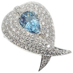 Aquamarine Diamond Platinum Pendant Brooch