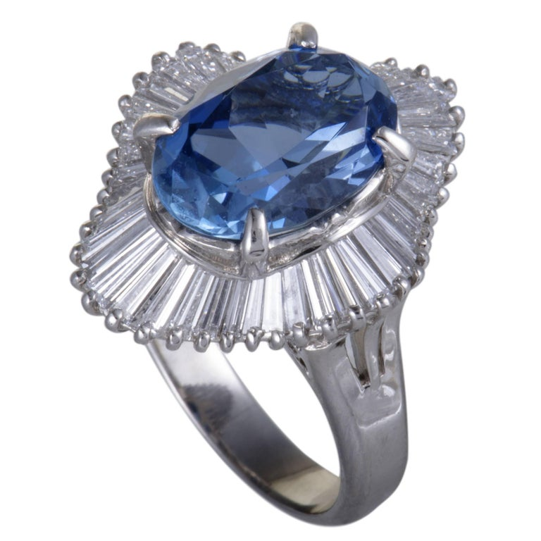 Aquamarine Diamond Platinum Ring