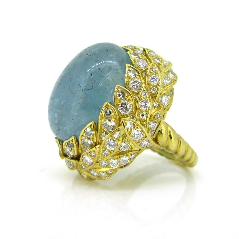 Women's or Men's Aquamarine Diamond Ribbed Textured Yellow Gold Cocktail Fashion Ring For Sale