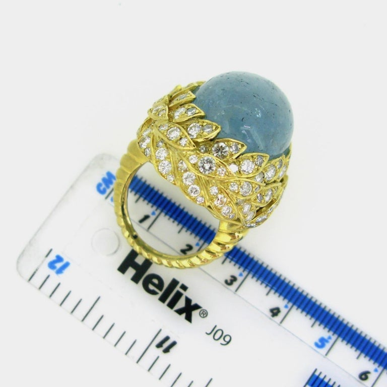 Aquamarine Diamond Ribbed Textured Yellow Gold Cocktail Fashion Ring For Sale 1