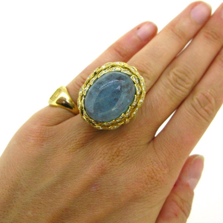 Aquamarine Diamond Ribbed Textured Yellow Gold Cocktail Fashion Ring For Sale 3