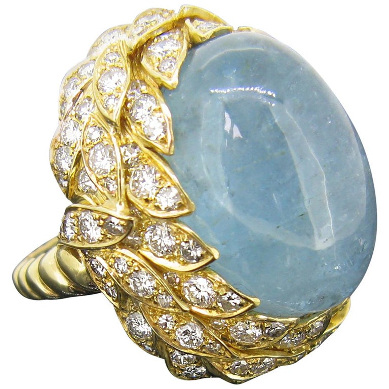Aquamarine Diamond Ribbed Textured Yellow Gold Cocktail Fashion Ring For Sale