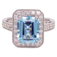 Aquamarine Diamond Ring, 14 Karat White Gold, Halo, 3 Carat Engagement Ring