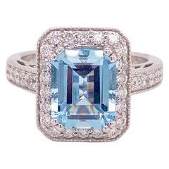 Aquamarine Diamond Ring, 14 Karat White Gold, Halo, 3 Carat Engagement Ring