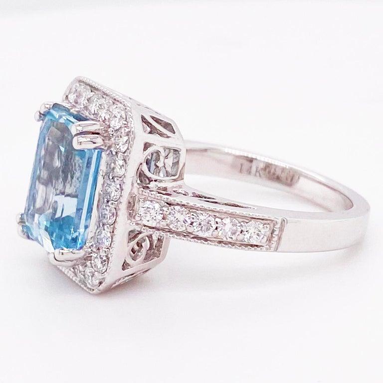 Modern Aquamarine Diamond Ring, 14 Karat White Gold, Halo, 3 Carat Engagement Ring For Sale