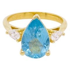 Aquamarine Diamond Ring, 2 Carat Aqua, 14 Karat Gold, Blue, Pear Engagement Ring