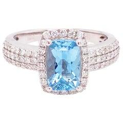 Aquamarine Diamond Ring, 2.00 Carat Aqua Diamond Halo, Engagement Ring, Cushion