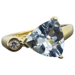 Aquamarine and Diamond Ring Cocktail Ring