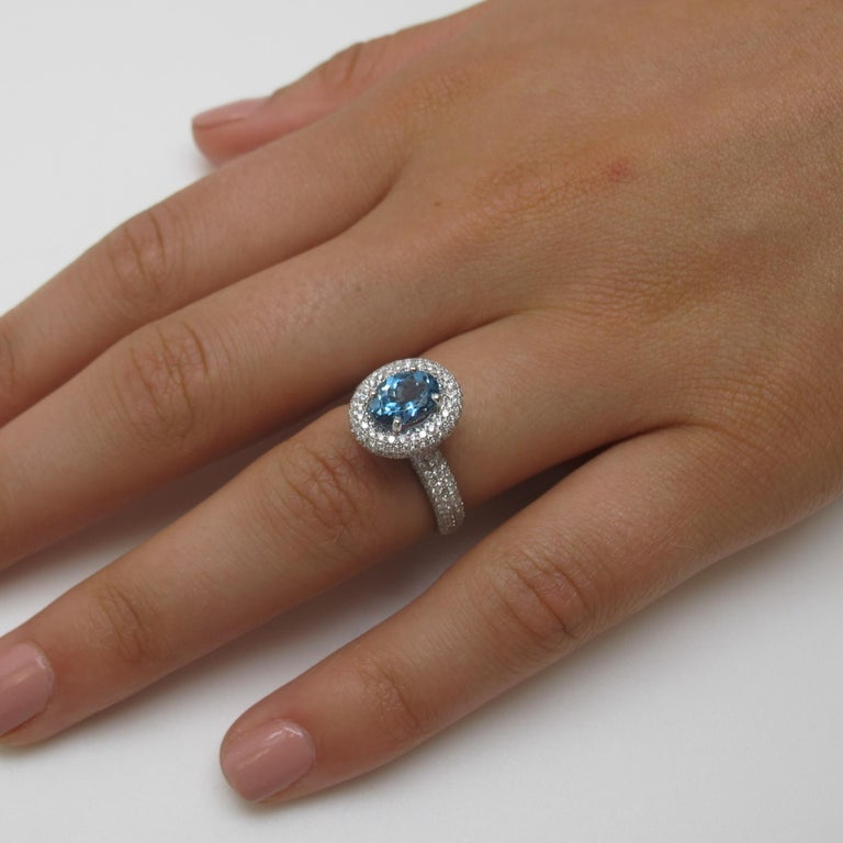 Artisan Aquamarine and Diamond Ring For Sale