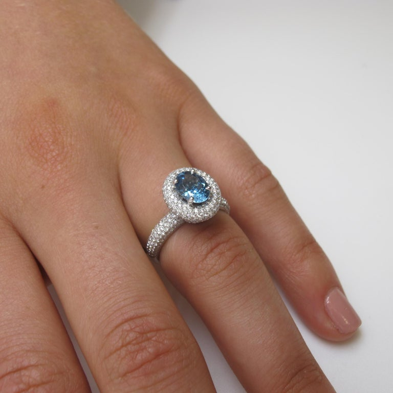Oval Cut Aquamarine and Diamond Ring For Sale