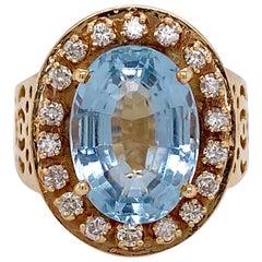 Aquamarine Diamond Ring, Large 5.55 Carat Filigree Design with Diamond Halo