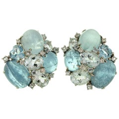 Aquamarine Diamond Bubble Earrings