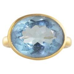 Ico & the Bird Santa Maria Aquamarine Diamond Wave 18 Karat Gold Ring