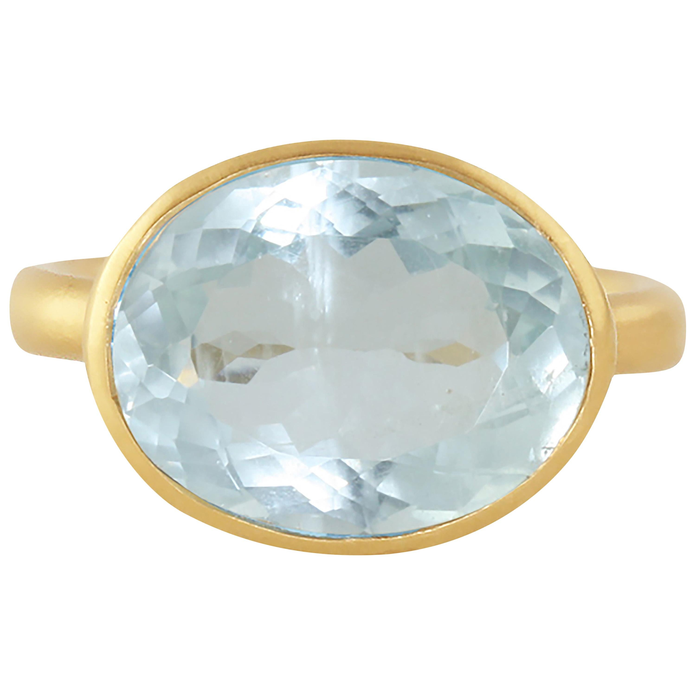 Ico & the Bird Fine Jewelry Aquamarine Diamond Wave 18k Karat Gold Ring