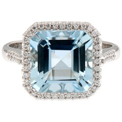 Aquamarine Diamond White Gold Cocktail Ring