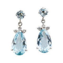 Aquamarine Diamond White Gold Drop Earrings