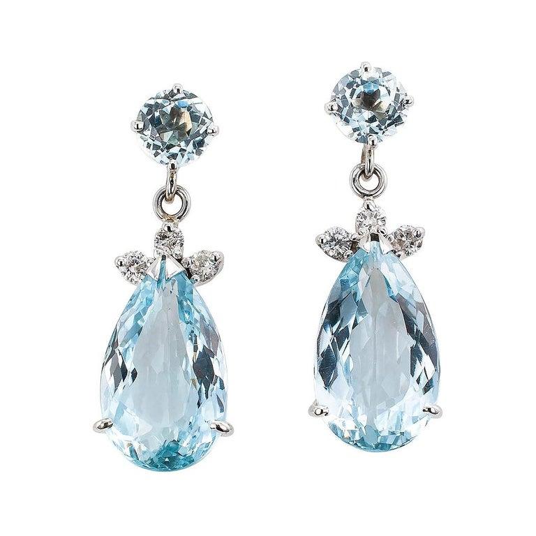 78d51c0dd3d0c Aquamarine Diamond White Gold Drop Earrings
