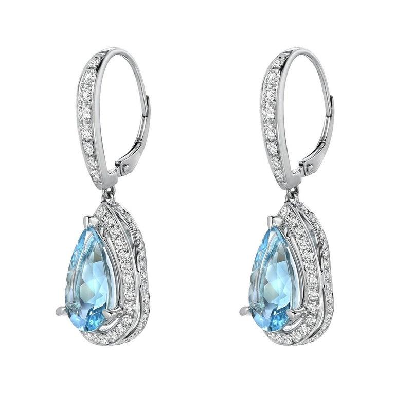Pear Cut Aquamarine Diamond White Gold Lever Back Drop Earrings Pear Shape 5.23 Carat  For Sale