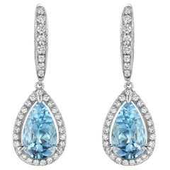 Aquamarine Diamond White Gold Lever Back Drop Earrings Pear Shape 5.23 Carat