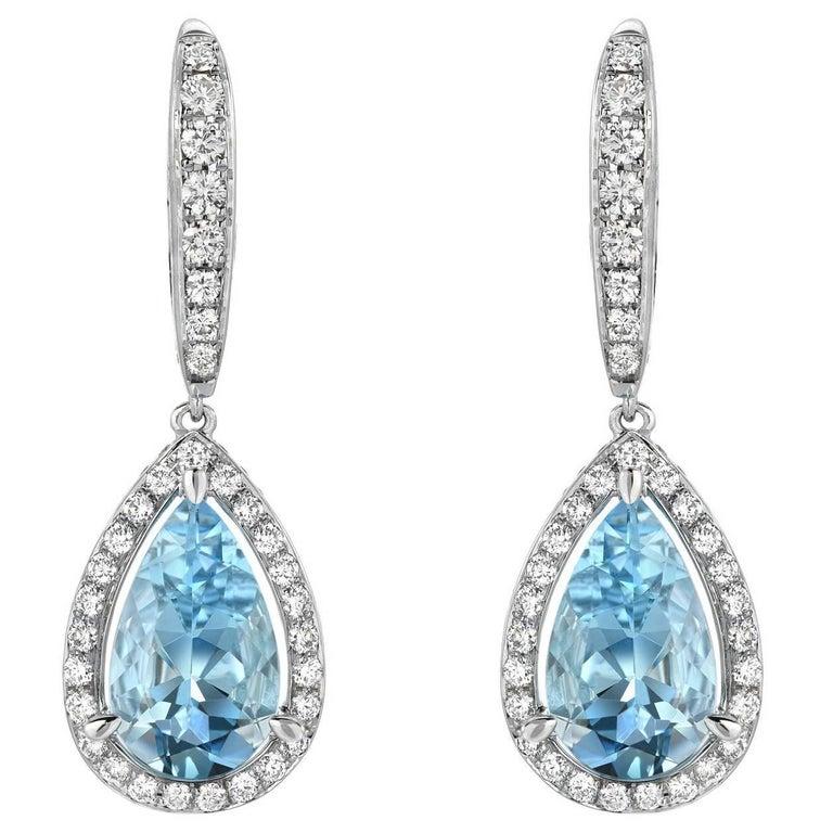 Aquamarine Diamond White Gold Lever Back Drop Earrings Pear Shape 5.23 Carat  For Sale