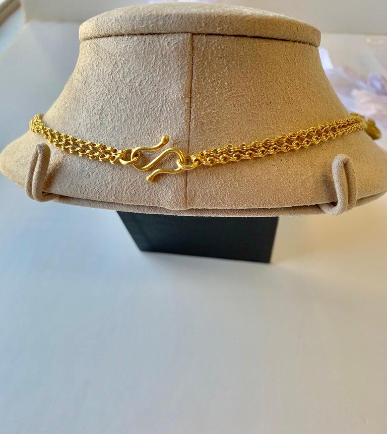 Artisan Aquamarine Diamond Yellow Gold 22 Karat Gold Necklace For Sale
