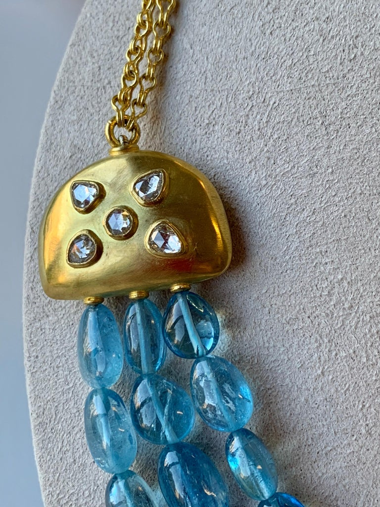Aquamarine Diamond Yellow Gold 22 Karat Gold Necklace In New Condition For Sale In New York, NY
