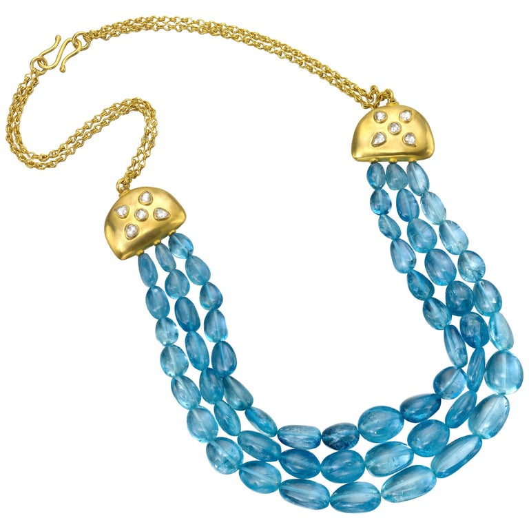 Aquamarine Diamond Yellow Gold 22 Karat Gold Necklace For Sale