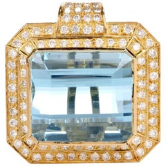 Aquamarine Diamond Yellow Gold Square Pendant Enhancer