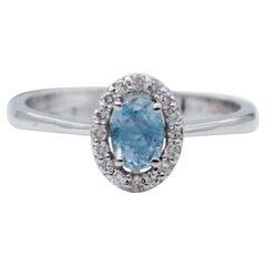 Aquamarine, Diamonds, 18 Karat White Gold Ring