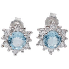 Aquamarine, Diamonds, 18 Karat White Gold Stud Earrings