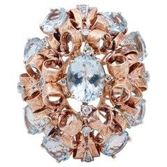 Aquamarine, Diamonds, 9 Karat Rose and White Gold Ring
